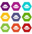 emblem burger icons set 9 vector image