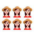 face expressions of farmer woman in hat vector image vector image