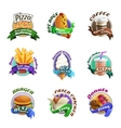Fastfood Cartoon Colorful Emblems Set vector image vector image