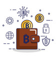 finance with bitcoin icons vector image