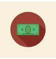 Flat banknote icon longshadow isolated vector image