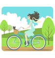 girl cycling vector image vector image