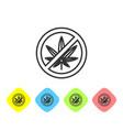 grey line stop marijuana or cannabis leaf icon vector image vector image