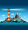 island with lighthouse on sea and mountains vector image vector image