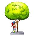 Little girl standing under the tree vector image
