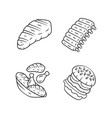 meat dishes linear icons set steak beef ribs