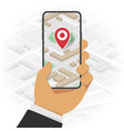 mobile phone with gps mark vector image