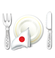 Plate Fork Knife with Japan Flag vector image vector image