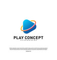 play logo design concept planet play logo vector image