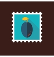 Plum flat stamp with long shadow vector image vector image