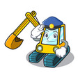 police excavator character cartoon style vector image vector image