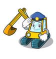 police excavator character cartoon style vector image