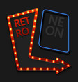 retro arrow with light bulb on black vector image