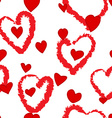Seamless hand drawn heart red and white pattern vector image vector image