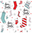 seamless pattern christmas socks for presents vector image