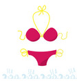 separate swimsuit yellow pink swimming clothes vector image