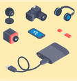 set isometric computer devices icons vector image vector image