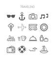 Set of simple icons for traveling vector image vector image