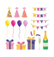 set party decoration with balloons and presents vector image