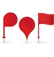 set red map pointers pin icons vector image