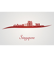 Singapore V2 skyline in red vector image vector image