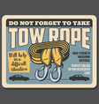 towing rope to recover car breakdowns vector image vector image