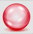 transparent red sphere with shadow vector image vector image