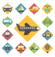 Transportation traveling icons set flat design vector image