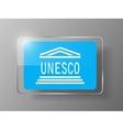 UNESCO Flag Glossy Button vector image