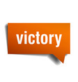 victory orange 3d speech bubble vector image vector image