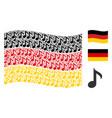 waving german flag mosaic of musical note items vector image