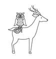 wild deer with owl vector image vector image