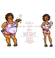 Woman before and after weight loss vector image