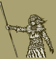woman warrior holds a spear in her right