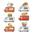 flat street food truck icons set vector image