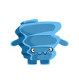 cute blue suspicious rock element cartoon vector image