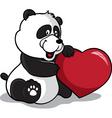panda holding heart vector image