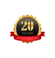 20 years anniversary golden label with ribbons vector image vector image