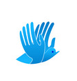 abstract blue bird with hands as wings icon vector image vector image