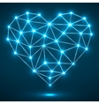 Abstract heart with glowing dots and lines vector image