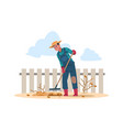 agricultural worker cartoon character doing vector image vector image