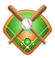 baseball leather ball and wooden bats on field vector image vector image