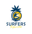 beach surfing sports logo design vector image vector image