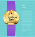 best deals poster holidays sale golden round label vector image vector image