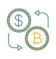 bitcoin and dollar currency exchange color icon vector image