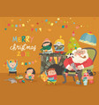 cartoon santa claus with kids and gifts vector image