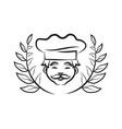 chef wearing hat laurel branch vector image vector image