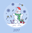 Christmas snowman on the background vector image