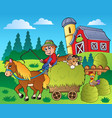 country scene with red barn 9 vector image