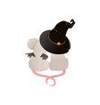 couple cute mice sitting under witches hat vector image vector image
